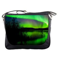 Green Northern Lights Canada Messenger Bags by Onesevenart