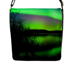 Green Northern Lights Canada Flap Messenger Bag (l)  by Onesevenart