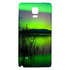 Green Northern Lights Canada Galaxy Note 4 Back Case by Onesevenart