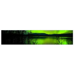 Green Northern Lights Canada Flano Scarf (small) by Onesevenart