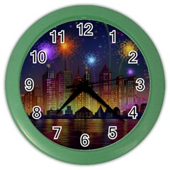 Happy Birthday Independence Day Celebration In New York City Night Fireworks Us Color Wall Clocks by Onesevenart