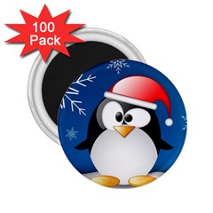 Happy Holidays Christmas Card With Penguin 2 25  Magnets (100 Pack)  by Onesevenart