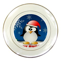 Happy Holidays Christmas Card With Penguin Porcelain Plates by Onesevenart