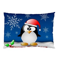Happy Holidays Christmas Card With Penguin Pillow Case by Onesevenart