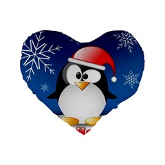 Happy Holidays Christmas Card With Penguin Standard 16  Premium Flano Heart Shape Cushions by Onesevenart