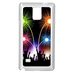 Happy New Year 2017 Celebration Animated 3d Samsung Galaxy Note 4 Case (white) by Onesevenart