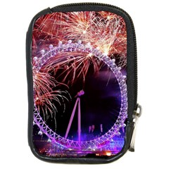 Happy New Year Clock Time Fireworks Pictures Compact Camera Cases by Onesevenart