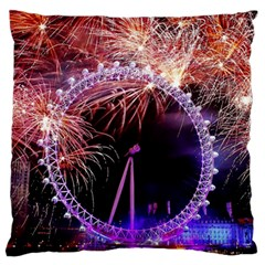 Happy New Year Clock Time Fireworks Pictures Standard Flano Cushion Case (one Side) by Onesevenart