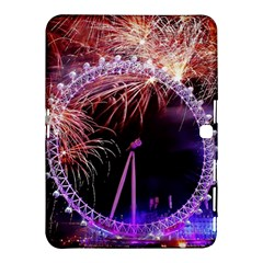 Happy New Year Clock Time Fireworks Pictures Samsung Galaxy Tab 4 (10 1 ) Hardshell Case  by Onesevenart
