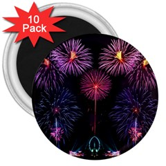 Happy New Year New Years Eve Fireworks In Australia 3  Magnets (10 Pack)  by Onesevenart