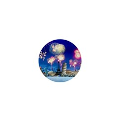 Happy New Year Celebration Of The New Year Landmarks Of The Most Famous Cities Around The World Fire 1  Mini Buttons by Onesevenart