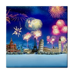 Happy New Year Celebration Of The New Year Landmarks Of The Most Famous Cities Around The World Fire Face Towel by Onesevenart