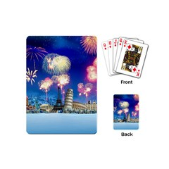 Happy New Year Celebration Of The New Year Landmarks Of The Most Famous Cities Around The World Fire Playing Cards (mini)  by Onesevenart
