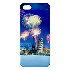 Happy New Year Celebration Of The New Year Landmarks Of The Most Famous Cities Around The World Fire iPhone 5S/ SE Premium Hardshell Case by Onesevenart