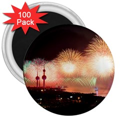 Kuwait Liberation Day National Day Fireworks 3  Magnets (100 Pack) by Onesevenart