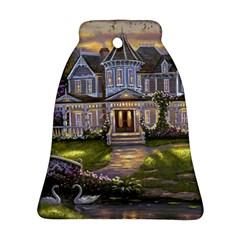Landscape House River Bridge Swans Art Background Bell Ornament (two Sides) by Onesevenart