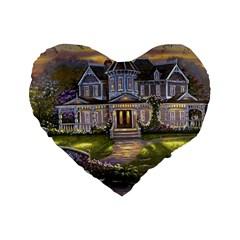 Landscape House River Bridge Swans Art Background Standard 16  Premium Flano Heart Shape Cushions by Onesevenart