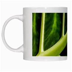 Leaf Dark Green White Mugs by Onesevenart