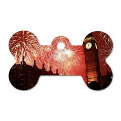 London Celebration New Years Eve Big Ben Clock Fireworks Dog Tag Bone (two Sides) by Onesevenart