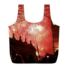 London Celebration New Years Eve Big Ben Clock Fireworks Full Print Recycle Bags (l)  by Onesevenart