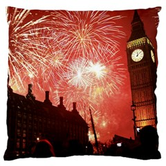 London Celebration New Years Eve Big Ben Clock Fireworks Standard Flano Cushion Case (one Side) by Onesevenart