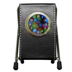 Multicolored Patterned Spheres 3d Pen Holder Desk Clocks by Onesevenart