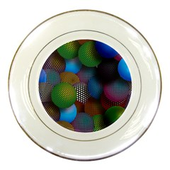 Multicolored Patterned Spheres 3d Porcelain Plates by Onesevenart