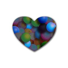 Multicolored Patterned Spheres 3d Heart Coaster (4 Pack)  by Onesevenart