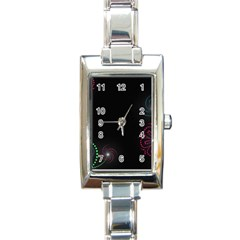 Neon Flowers And Swirls Abstract Rectangle Italian Charm Watch by Onesevenart