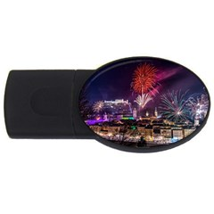 New Year New Year's Eve In Salzburg Austria Holiday Celebration Fireworks Usb Flash Drive Oval (4 Gb) by Onesevenart