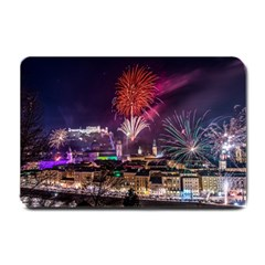 New Year New Year's Eve In Salzburg Austria Holiday Celebration Fireworks Small Doormat  by Onesevenart
