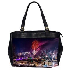 New Year New Year's Eve In Salzburg Austria Holiday Celebration Fireworks Office Handbags (2 Sides)  by Onesevenart