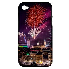 New Year New Year's Eve In Salzburg Austria Holiday Celebration Fireworks Apple Iphone 4/4s Hardshell Case (pc+silicone) by Onesevenart