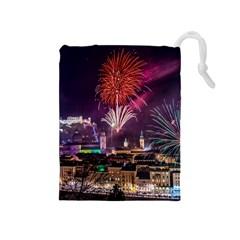 New Year New Year's Eve In Salzburg Austria Holiday Celebration Fireworks Drawstring Pouches (Medium)  by Onesevenart