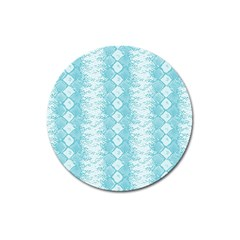 Snake Skin Blue Chevron Wave Magnet 3  (round) by AnjaniArt