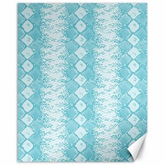 Snake Skin Blue Chevron Wave Canvas 16  x 20   by AnjaniArt