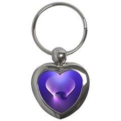 Space Galaxy Purple Blue Line Key Chains (heart)  by AnjaniArt