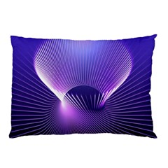 Space Galaxy Purple Blue Line Pillow Case by AnjaniArt