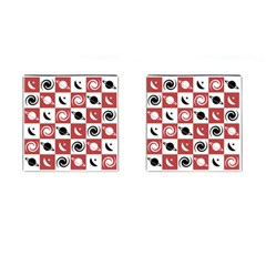 Space Month Saturnus Planet Star Hole Black Pink White Three Cufflinks (square) by AnjaniArt