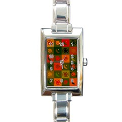 Space Month Saturnus Planet Star Hole Black White Multicolour Orange Rectangle Italian Charm Watch by AnjaniArt