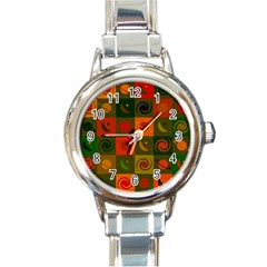 Space Month Saturnus Planet Star Hole Black White Multicolour Orange Round Italian Charm Watch by AnjaniArt