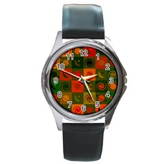 Space Month Saturnus Planet Star Hole Black White Multicolour Orange Round Metal Watch by AnjaniArt