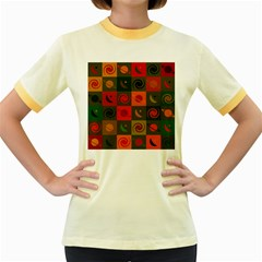 Space Month Saturnus Planet Star Hole Black White Multicolour Orange Women s Fitted Ringer T Shirts by AnjaniArt