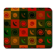 Space Month Saturnus Planet Star Hole Black White Multicolour Orange Large Mousepads by AnjaniArt