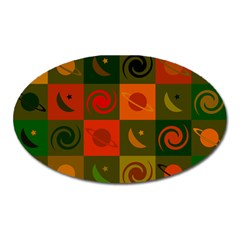 Space Month Saturnus Planet Star Hole Black White Multicolour Orange Oval Magnet by AnjaniArt