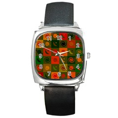 Space Month Saturnus Planet Star Hole Black White Multicolour Orange Square Metal Watch by AnjaniArt