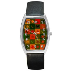 Space Month Saturnus Planet Star Hole Black White Multicolour Orange Barrel Style Metal Watch by AnjaniArt