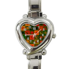 Space Month Saturnus Planet Star Hole Black White Multicolour Orange Heart Italian Charm Watch by AnjaniArt