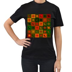 Space Month Saturnus Planet Star Hole Black White Multicolour Orange Women s T Shirt (black) (two Sided) by AnjaniArt