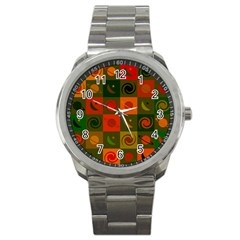 Space Month Saturnus Planet Star Hole Black White Multicolour Orange Sport Metal Watch by AnjaniArt